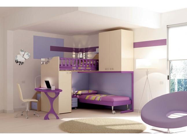 Chambre enfant PERSONNALISABLE KS34 lits superposés en mezzanine - MORETTI COMPACT
