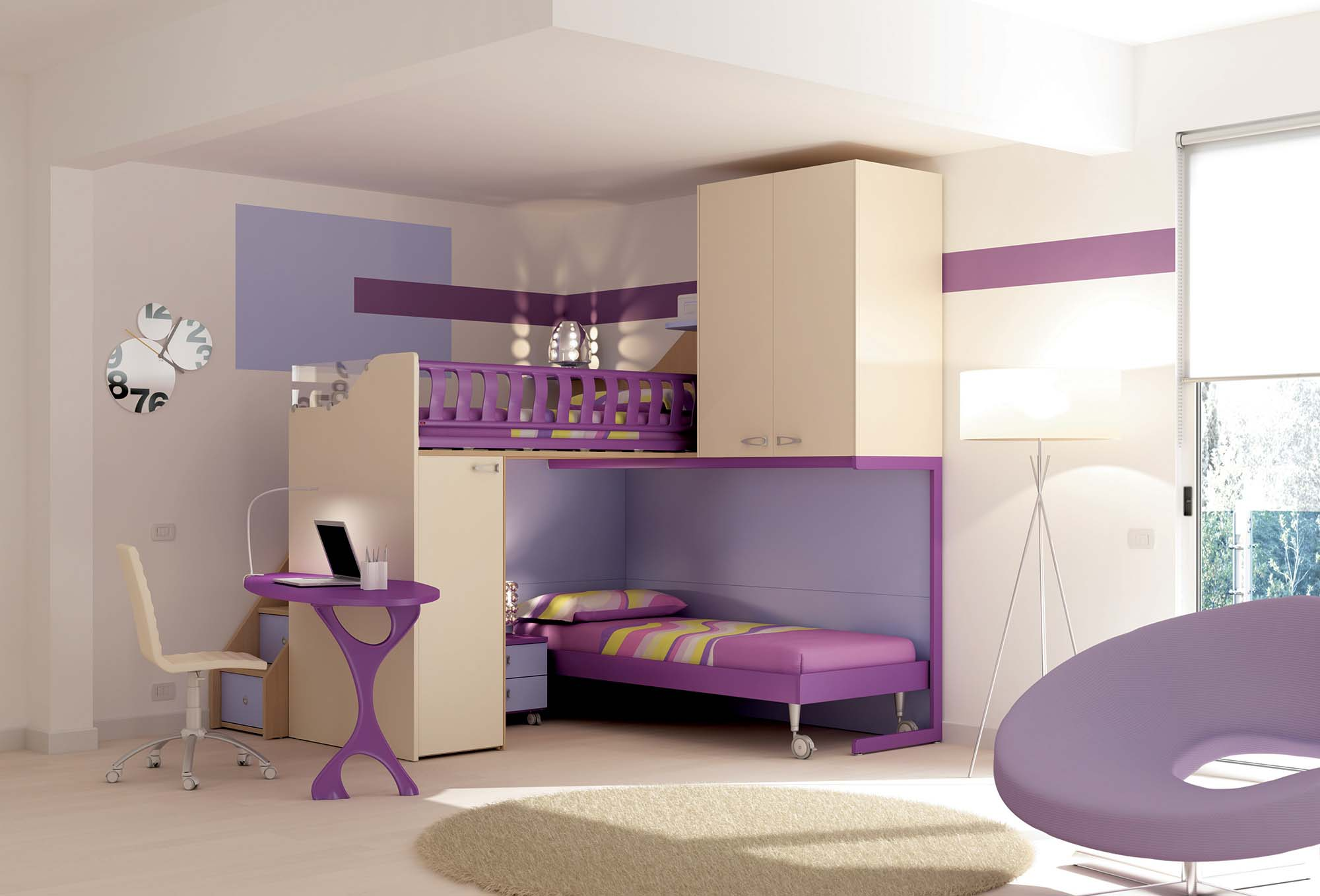 mezzanine chambre enfant lits cabanes chambre. Black Bedroom Furniture Sets. Home Design Ideas