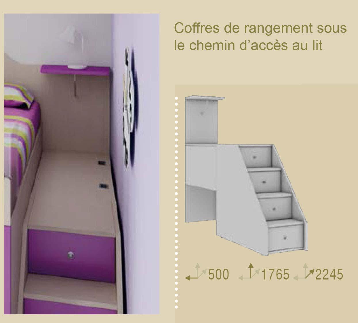 Chambre enfant color e compact pratique moretti - Lit mezzanine avec escalier de rangement ...