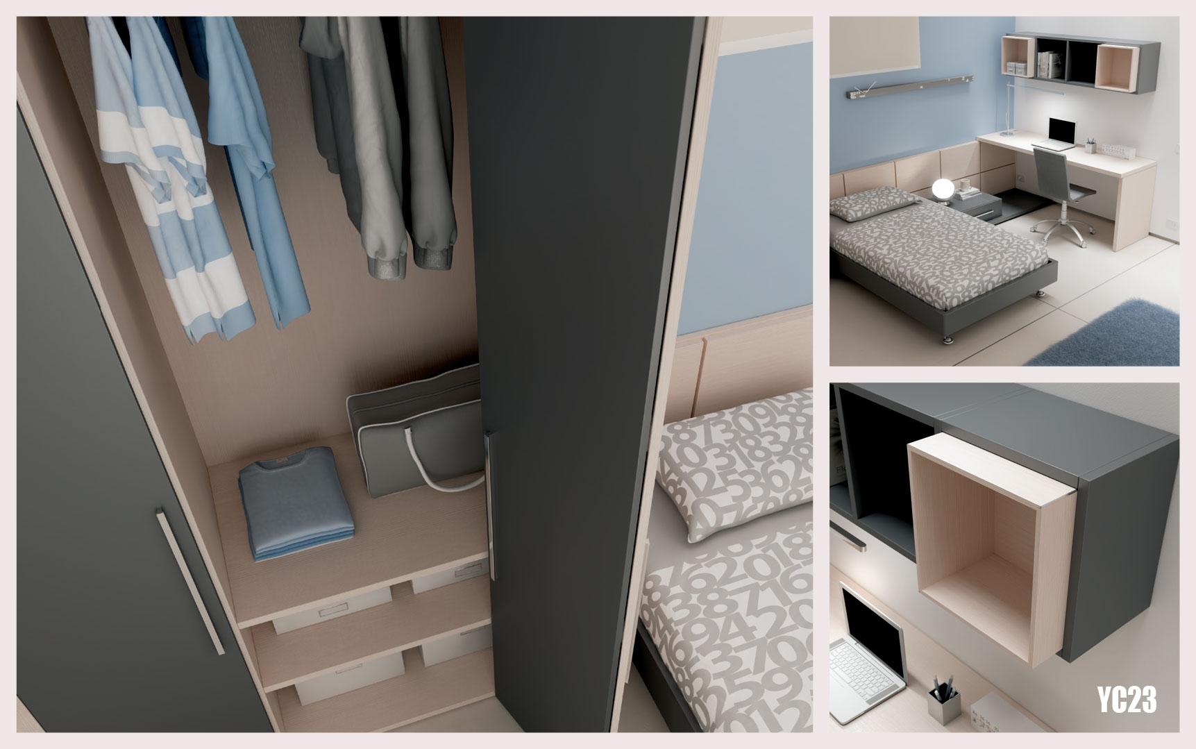 chambre compl te pur e avec t te lit ado moretti compact so nuit. Black Bedroom Furniture Sets. Home Design Ideas