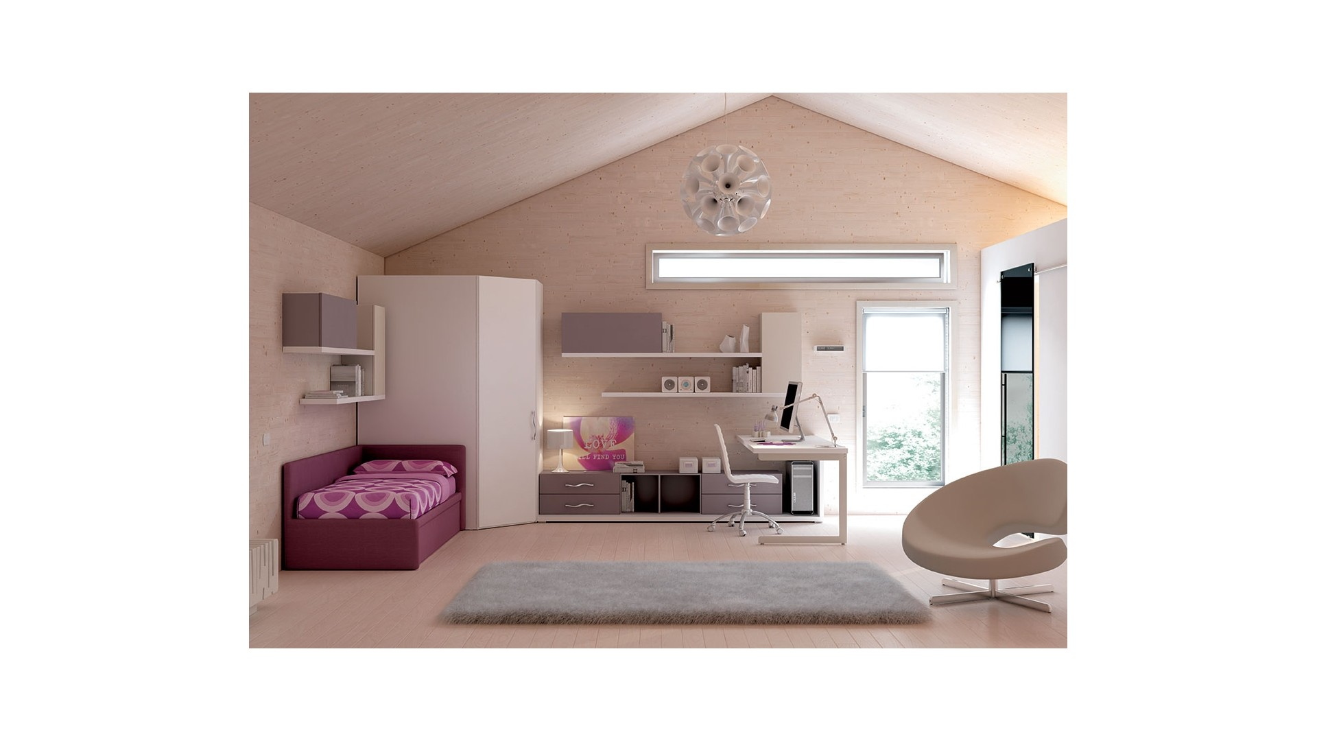 chambre enfant compl te avec lit canap moretti compact so nuit. Black Bedroom Furniture Sets. Home Design Ideas