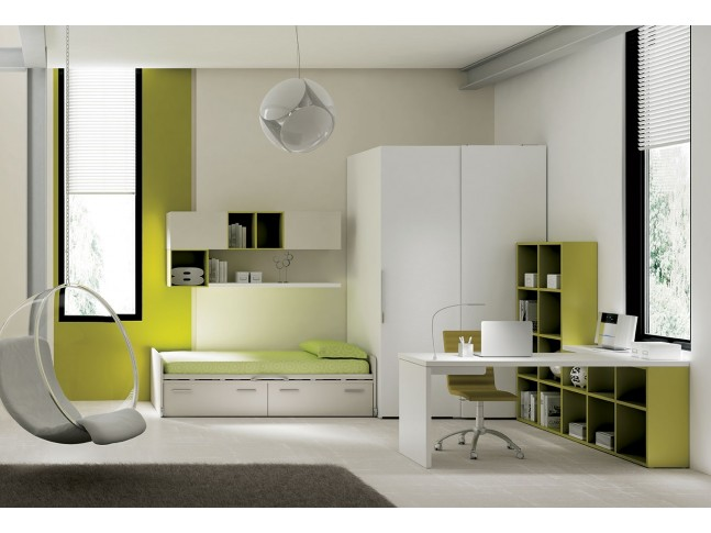 Chambre ado PERSONNALISABLE YC22 lit avec rangement - MORETTI COMPACT