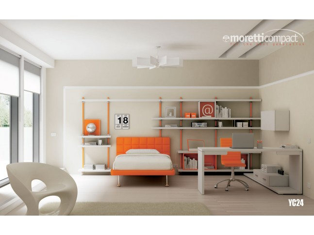 Chambre ado PERSONNALISABLE YC24 lit 1 personne - MORETTI COMPACT