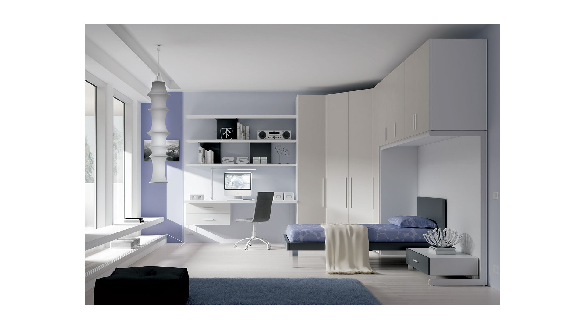 Chambre ado PERSONNALISABLE YC29 lit 1 personne - MORETTI COMPACT