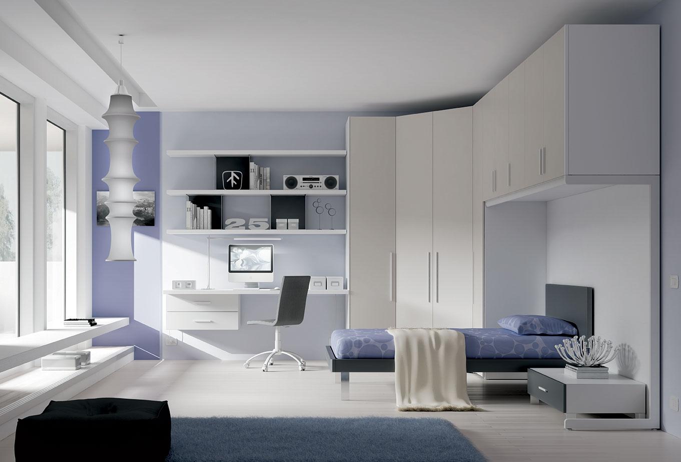 chambre ado zen avec un lit 1 personne moretti compact so nuit. Black Bedroom Furniture Sets. Home Design Ideas