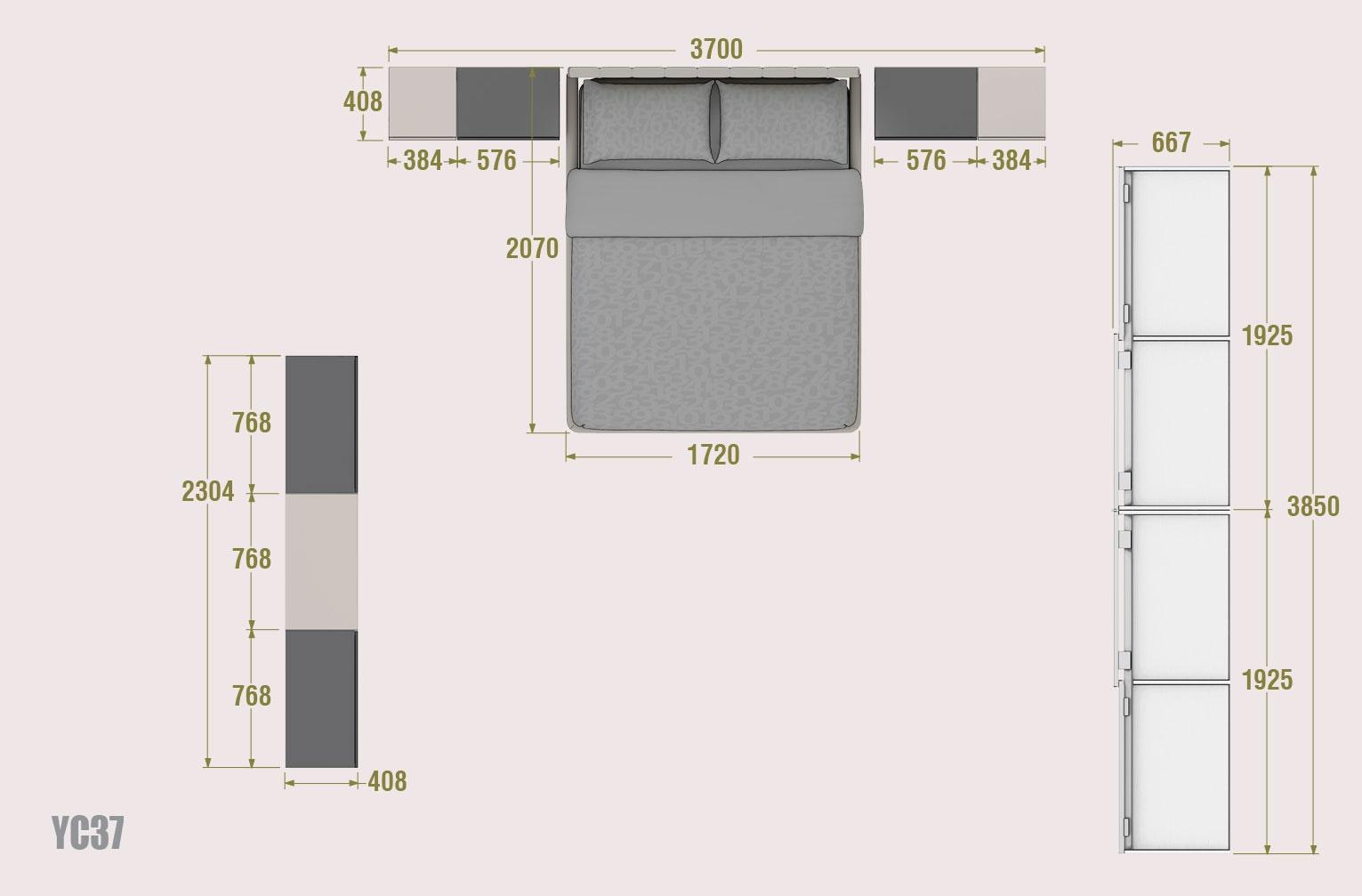 Chambre adulte avec lit 2 personnes moretti compact so for Chambre 2 personnes complete