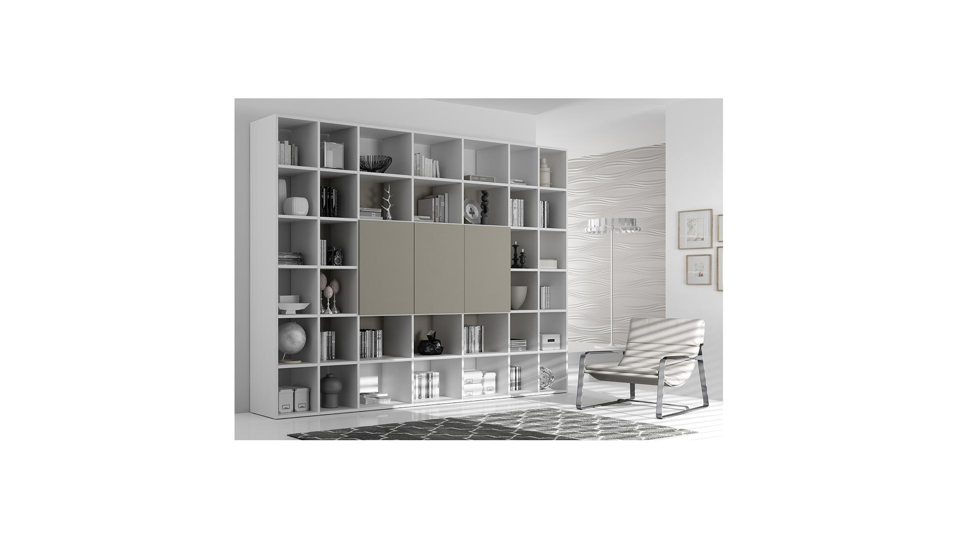 Bibliothèque Design PERSONNALISABLE AL10 avec portes push-pull - MORETTI COMPACT