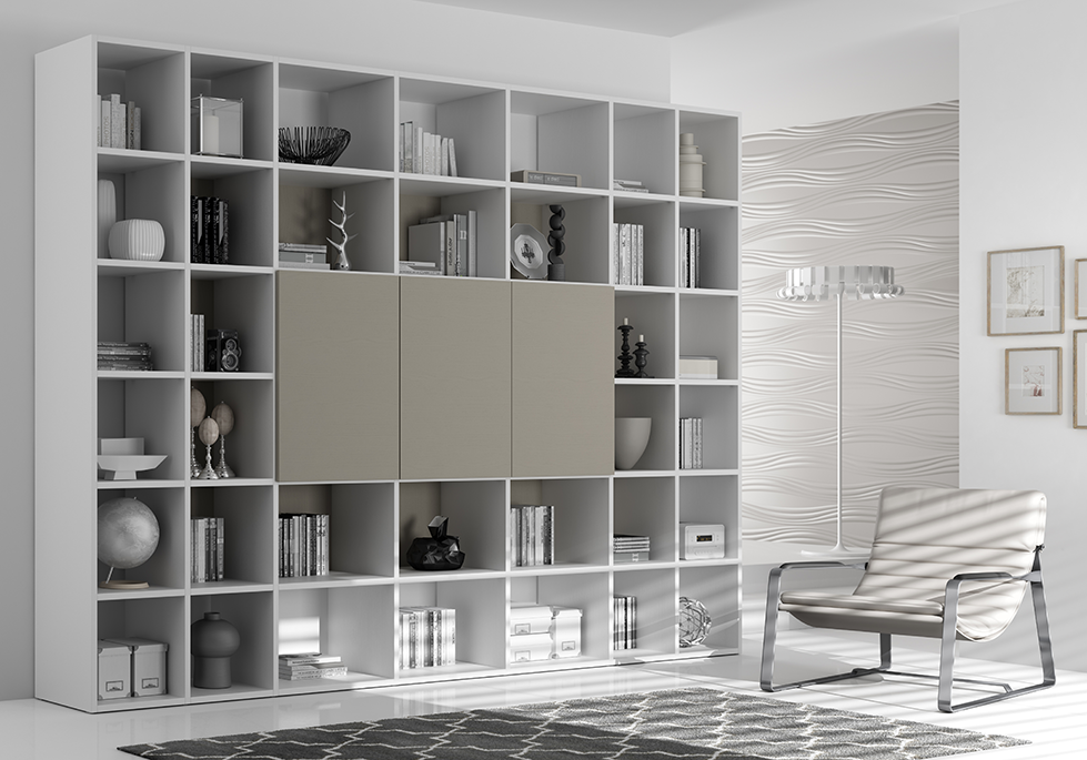 biblioth que design couleur tourterelle moretti compact so nuit. Black Bedroom Furniture Sets. Home Design Ideas