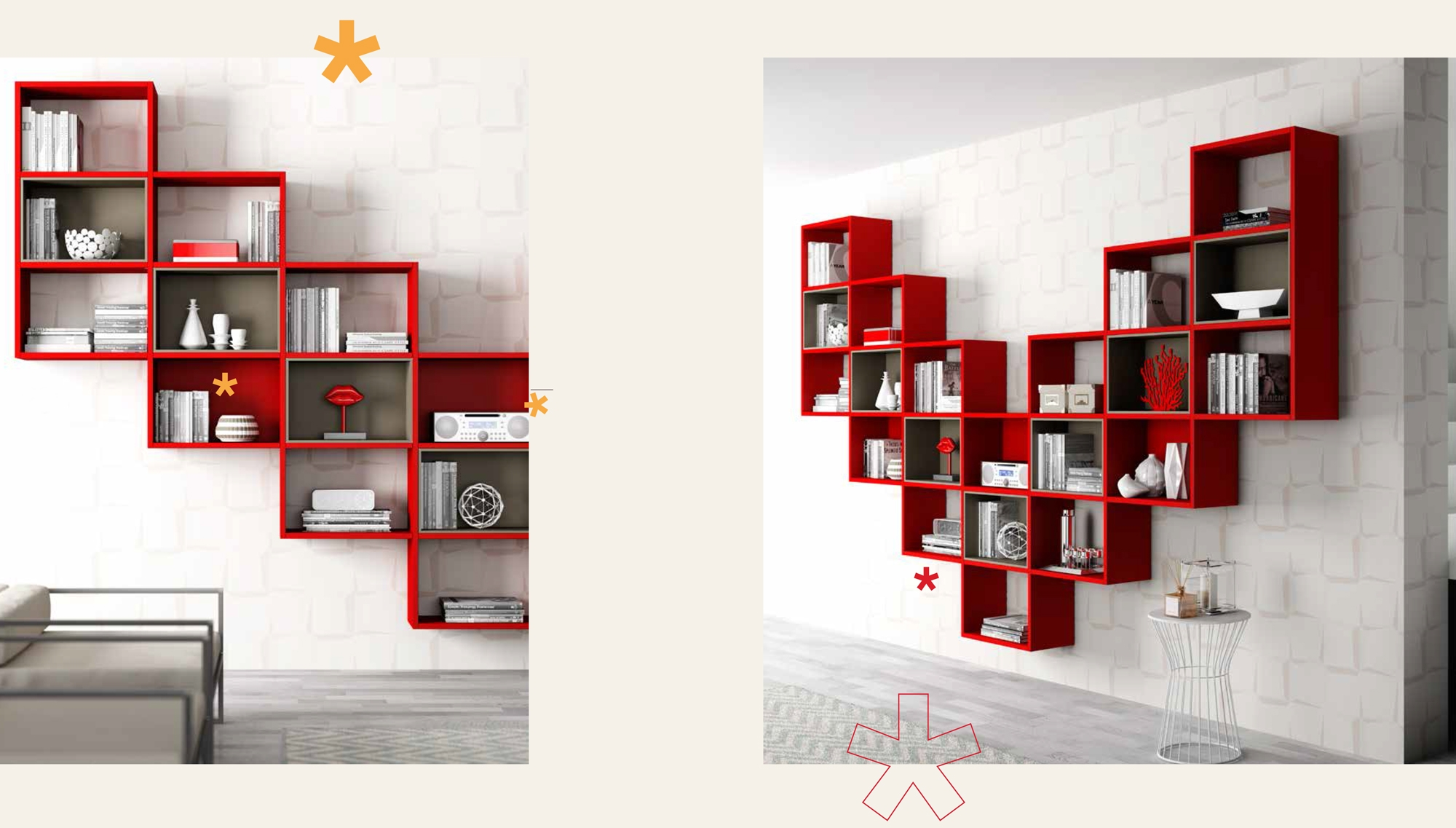 biblioth que design en forme tr s a rienne moretti. Black Bedroom Furniture Sets. Home Design Ideas