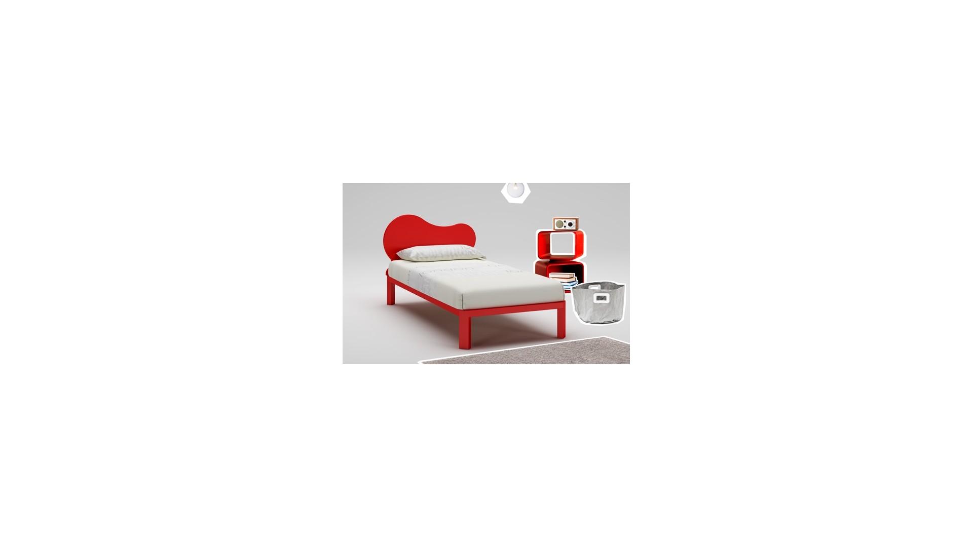 lit enfant fun couleur cerise avec sommier moretti compact so nuit. Black Bedroom Furniture Sets. Home Design Ideas