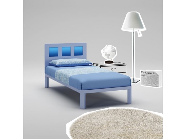 Lit garçon PERSONNALISABLE WL035 de 90 x 200 couleur cristal & bleu - MORETTI COMPACT