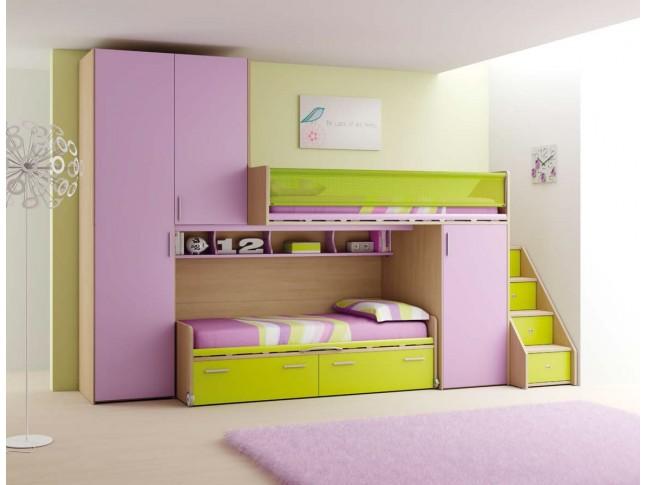 Chambre enfant PERSONNALISABLE LH11 lits superposés avec mezzanine - MORETTI COMPACT
