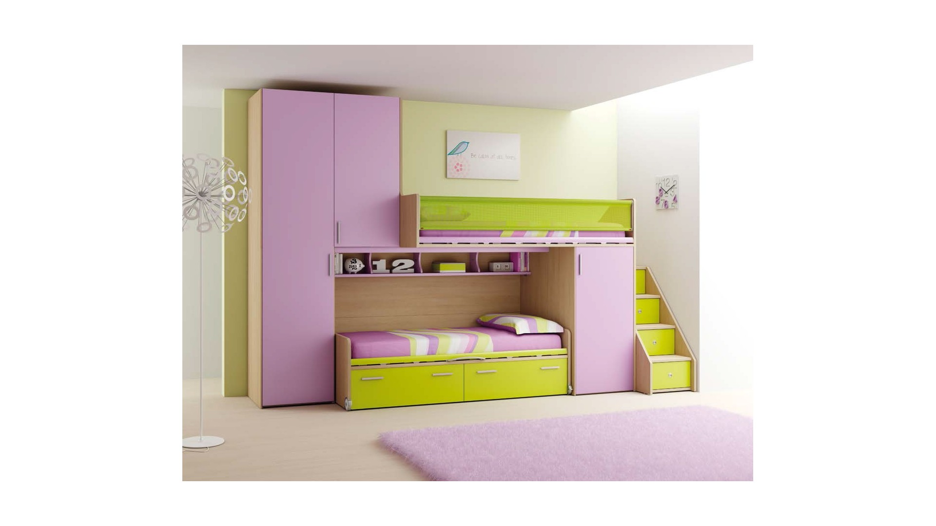 chambre enfant fun avec lits superpos s moretti compact so nuit. Black Bedroom Furniture Sets. Home Design Ideas