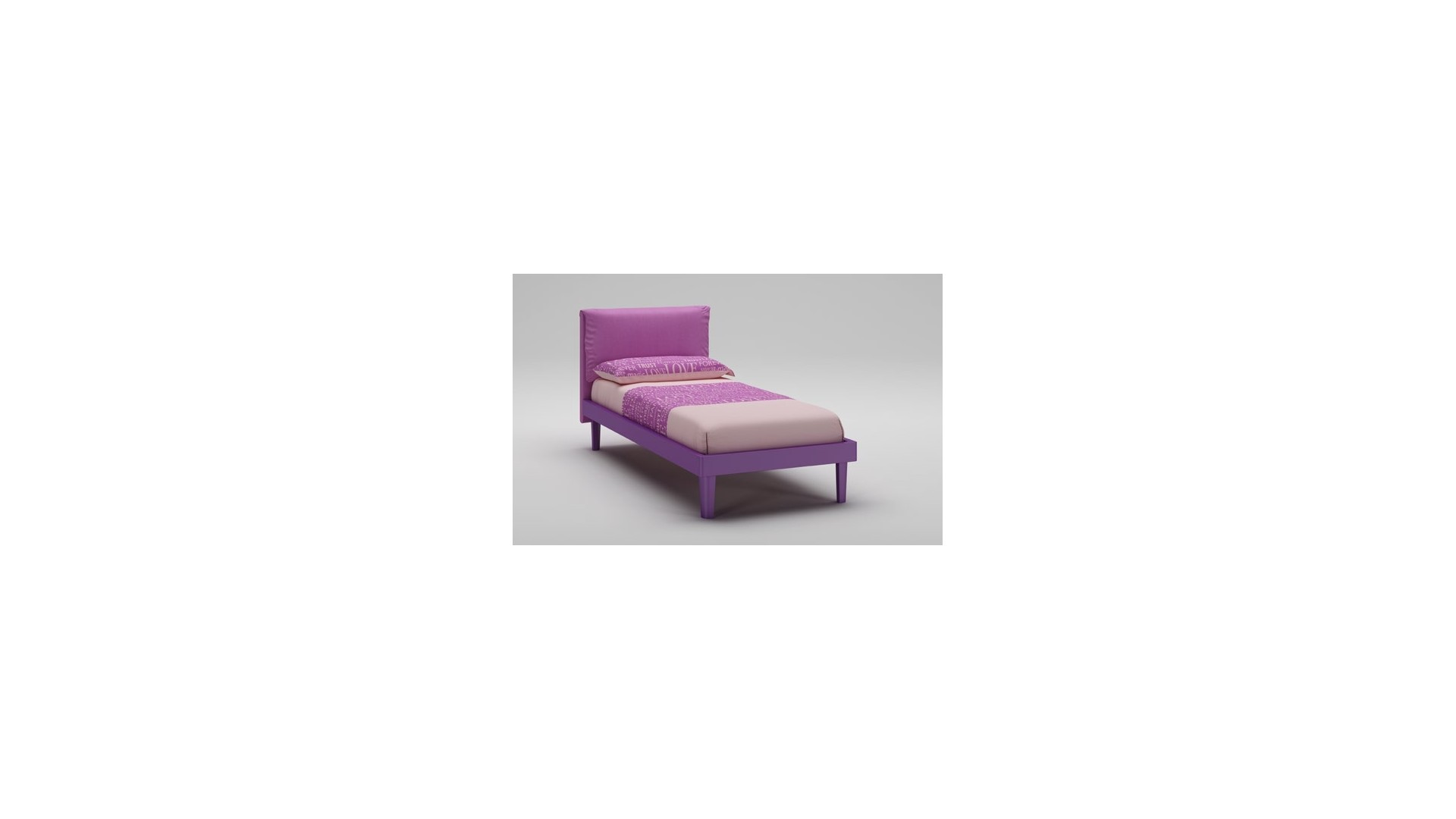 lit fille avec t te de lit rembourr e mauve moretti compact so nuit. Black Bedroom Furniture Sets. Home Design Ideas