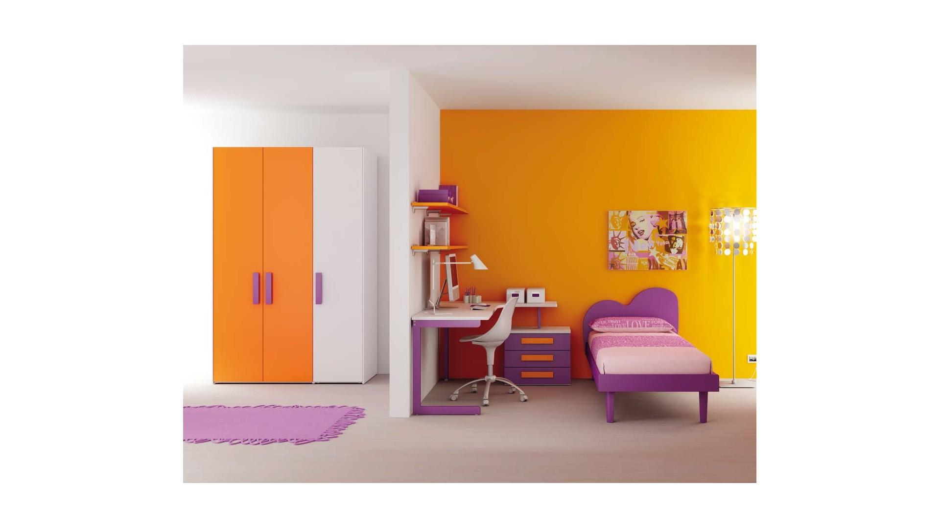 Chambre enfant PERSONNALISABLE LH14 lit 1 personne - MORETTI COMPACT
