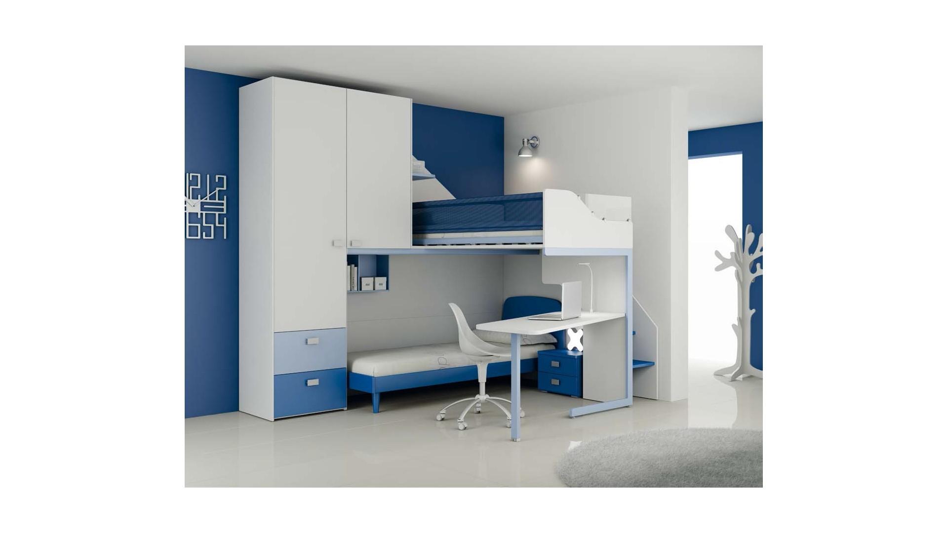 Chambre enfant PERSONNALISABLE LH15 lits superposés en mezzanine - MORETTI  COMPACT