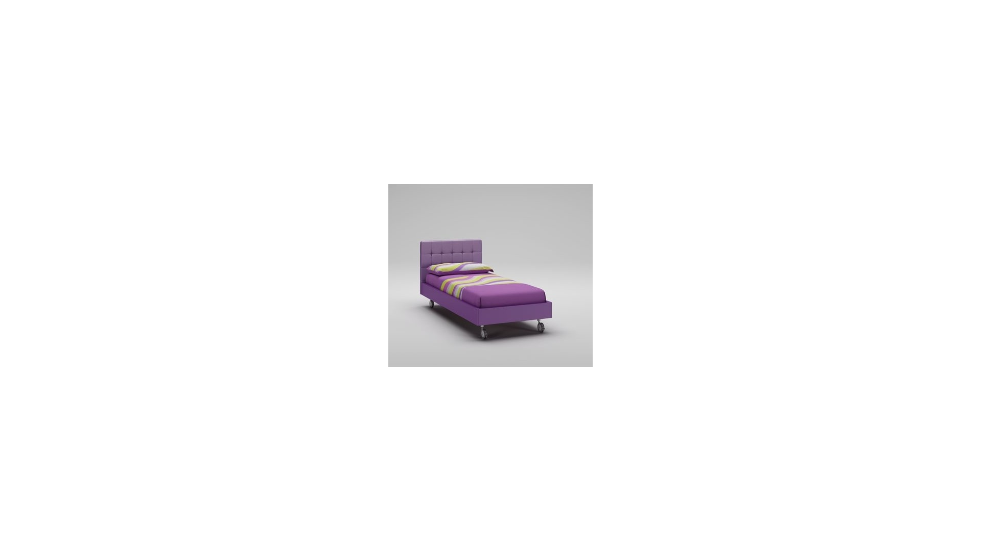 Lit fille PERSONNALISABLE WL041 de 90 x 200 couleur mauve avec tête de lit rembourrée - MORETTI COMPACT