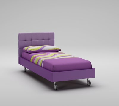 lit fille t te de lit rembourr e mauve moretti compact. Black Bedroom Furniture Sets. Home Design Ideas