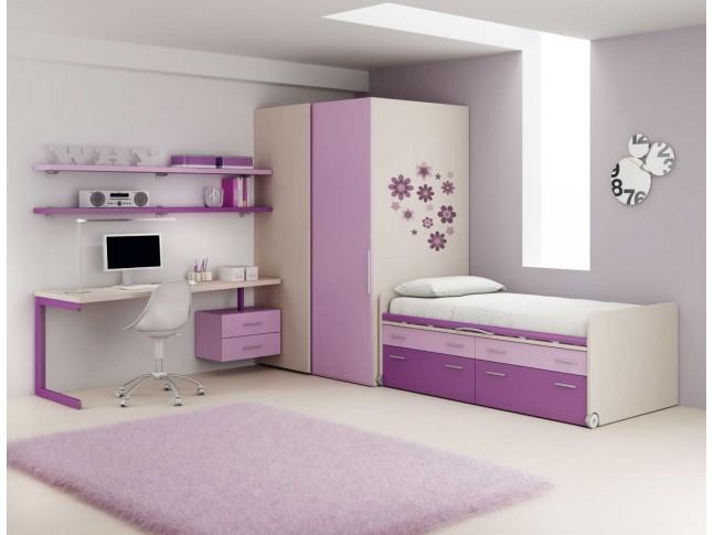 Chambre fille PERSONNALISABLE LH18 lit avec rangement - MORETTI COMPACT