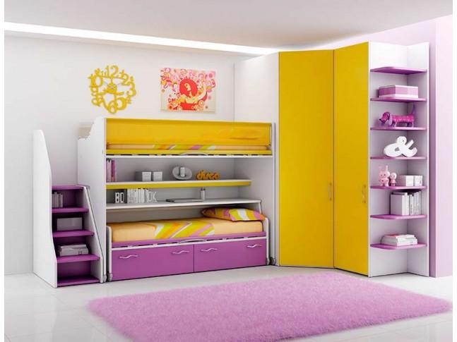 Chambre enfant PERSONNALISABLE LH20 lits superposés en mezzanine - MORETTI COMPACT