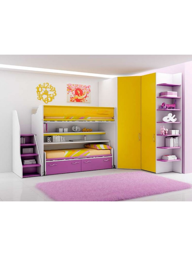 chambre enfant tr s color s et compl te moretti compact so nuit. Black Bedroom Furniture Sets. Home Design Ideas