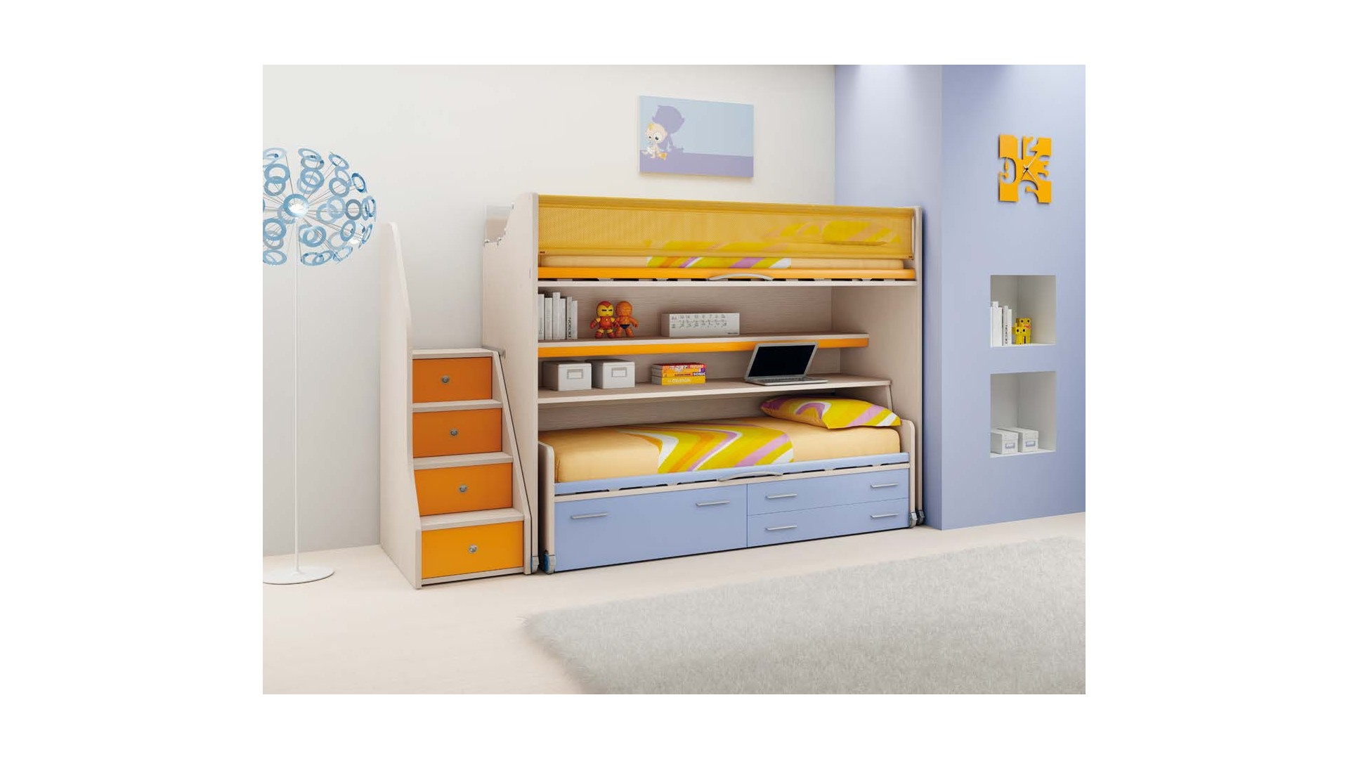 chambre enfant lits superpos s coulissant moretti compact so nuit. Black Bedroom Furniture Sets. Home Design Ideas