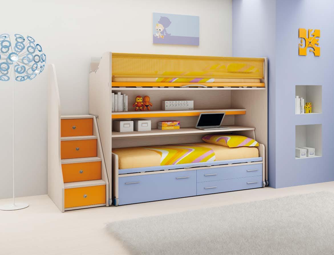 Chambre enfant PERSONNALISABLE LH24 lits superposés en mezzanine - MORETTI COMPACT