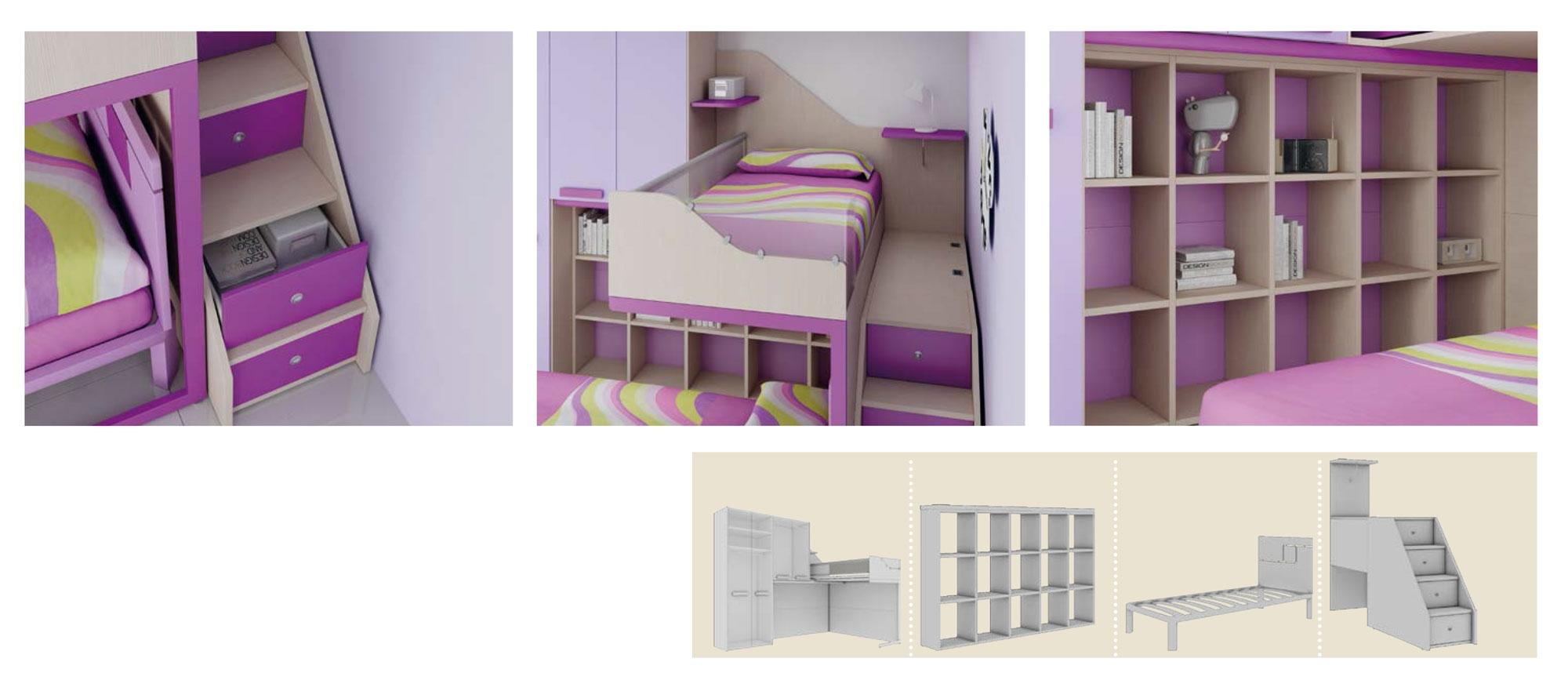 Chambre enfant avec lits superpos s sympa moretti compact so nuit - Lit mezzanine compact ...