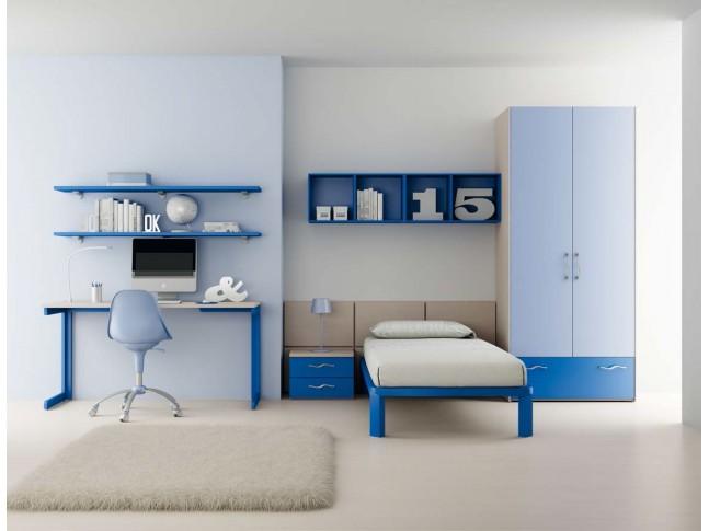 Chambre enfant PERSONNALISABLE LH29 avec lit 1 personne - MORETTI COMPACT