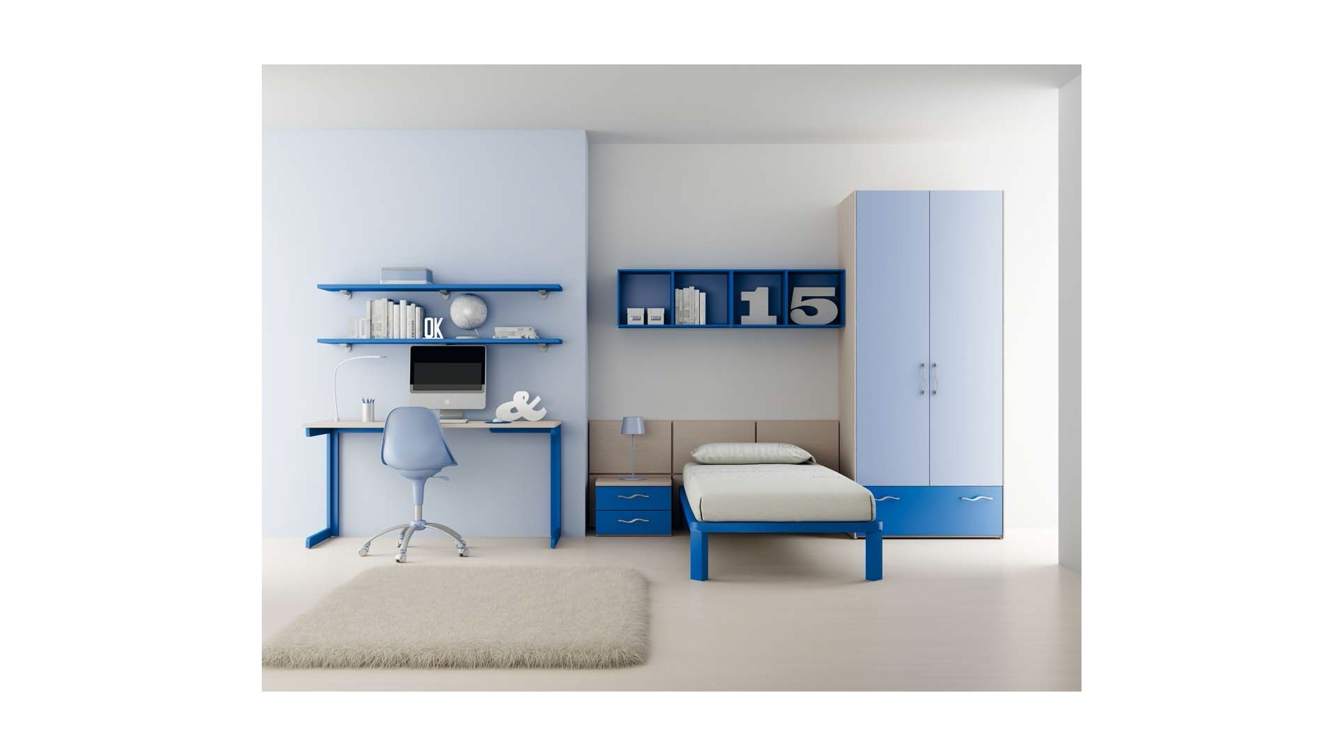 chambre enfant avec lit 1 personne armoire moretti compact so nuit. Black Bedroom Furniture Sets. Home Design Ideas