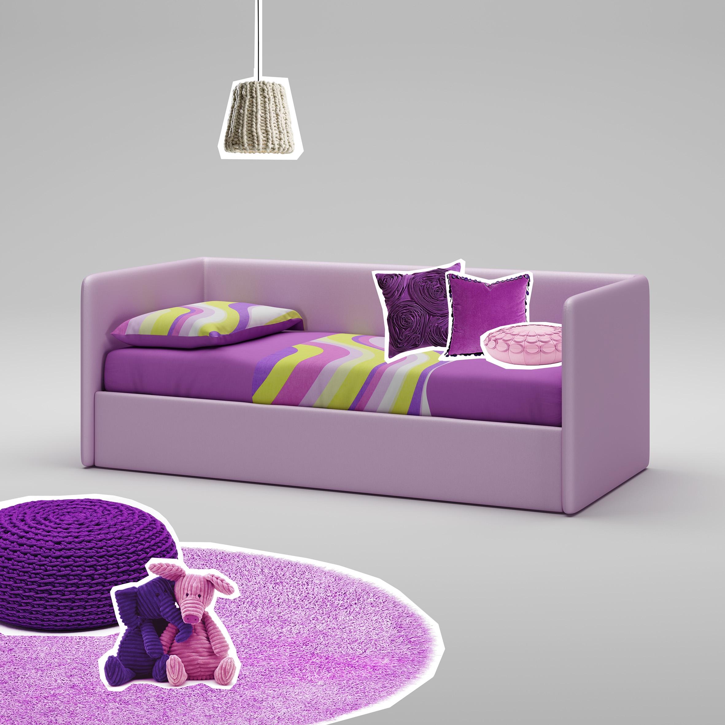 Lit canapé PERSONNALISABLE WL066 imitation cuir couleur lila avec couchage de 90 x 200 - MORETTI COMPACT