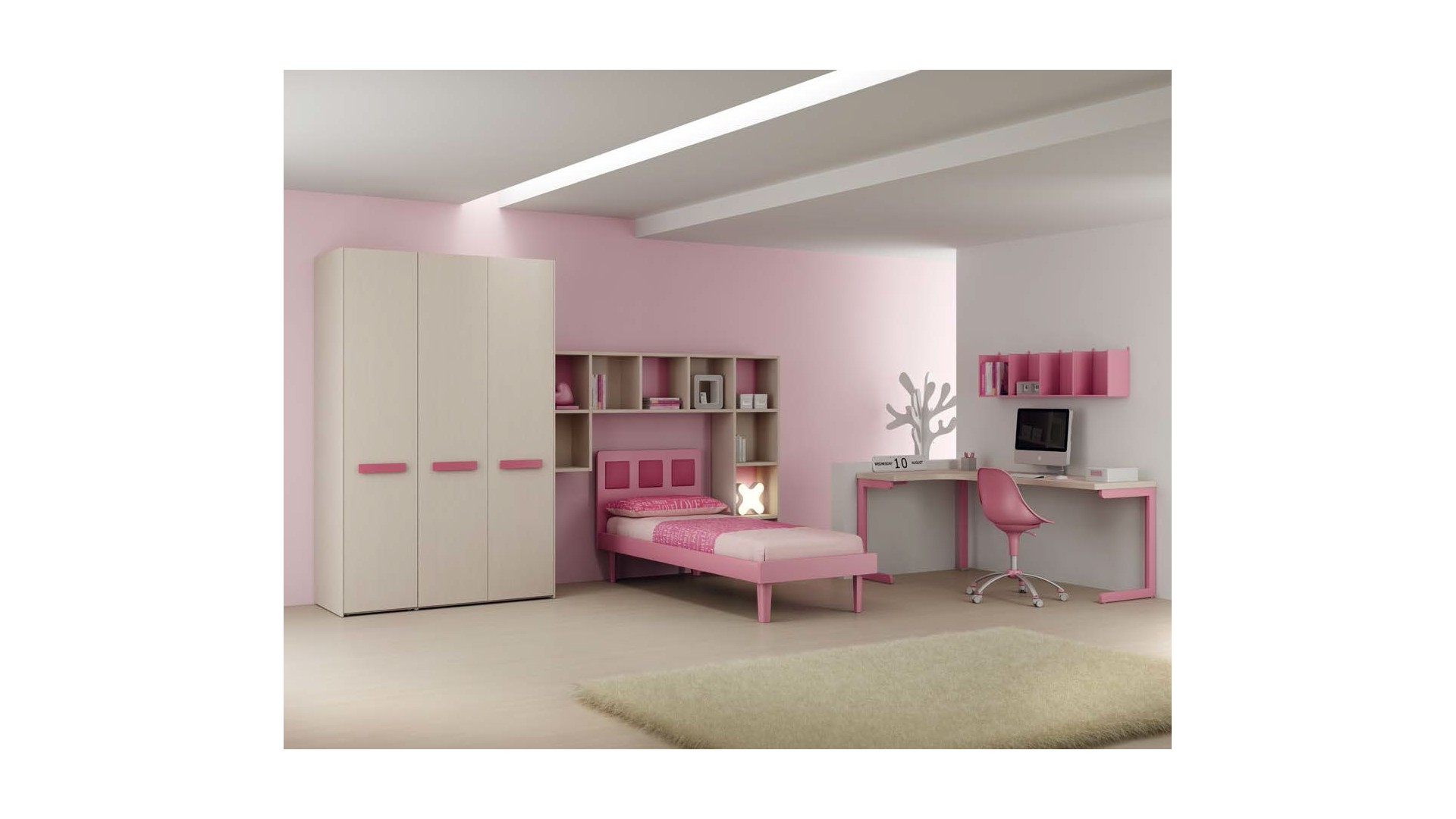 chambre fille moderne avec lit 1 personne moretti. Black Bedroom Furniture Sets. Home Design Ideas