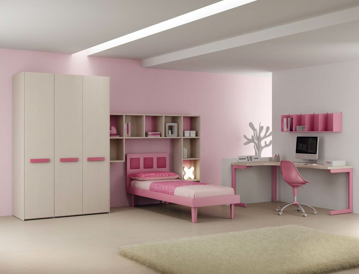 chambre fille moderne avec lit 1 personne moretti compact so nuit. Black Bedroom Furniture Sets. Home Design Ideas