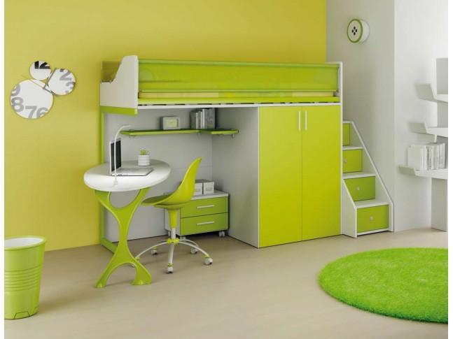 Chambre enfant PERSONNALISABLE LH33 lit mezzanine - MORETTI COMPACT