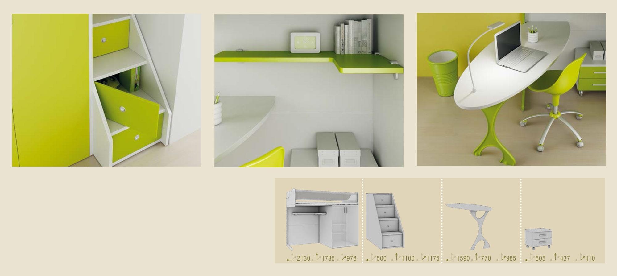 Chambre enfant avec lit mezzanine & bureau - MORETTI COMPACT - SO NUIT