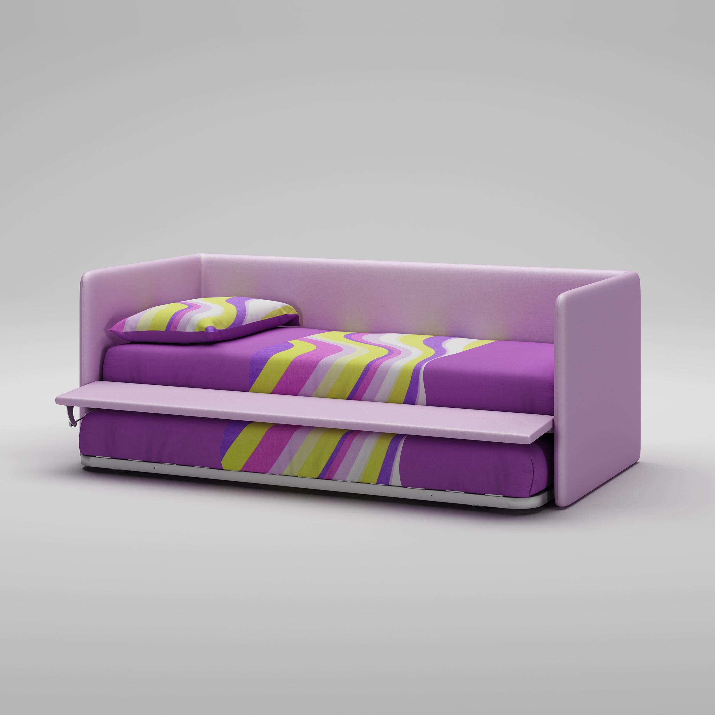 lit canap en imitation cuir couleur lila moretti compact so nuit. Black Bedroom Furniture Sets. Home Design Ideas