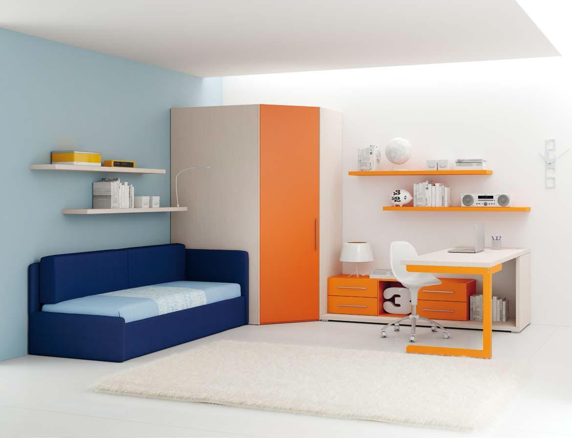Chambre enfant PERSONNALISABLE LH34 lit canapé et lit gigogne - MORETTI COMPACT