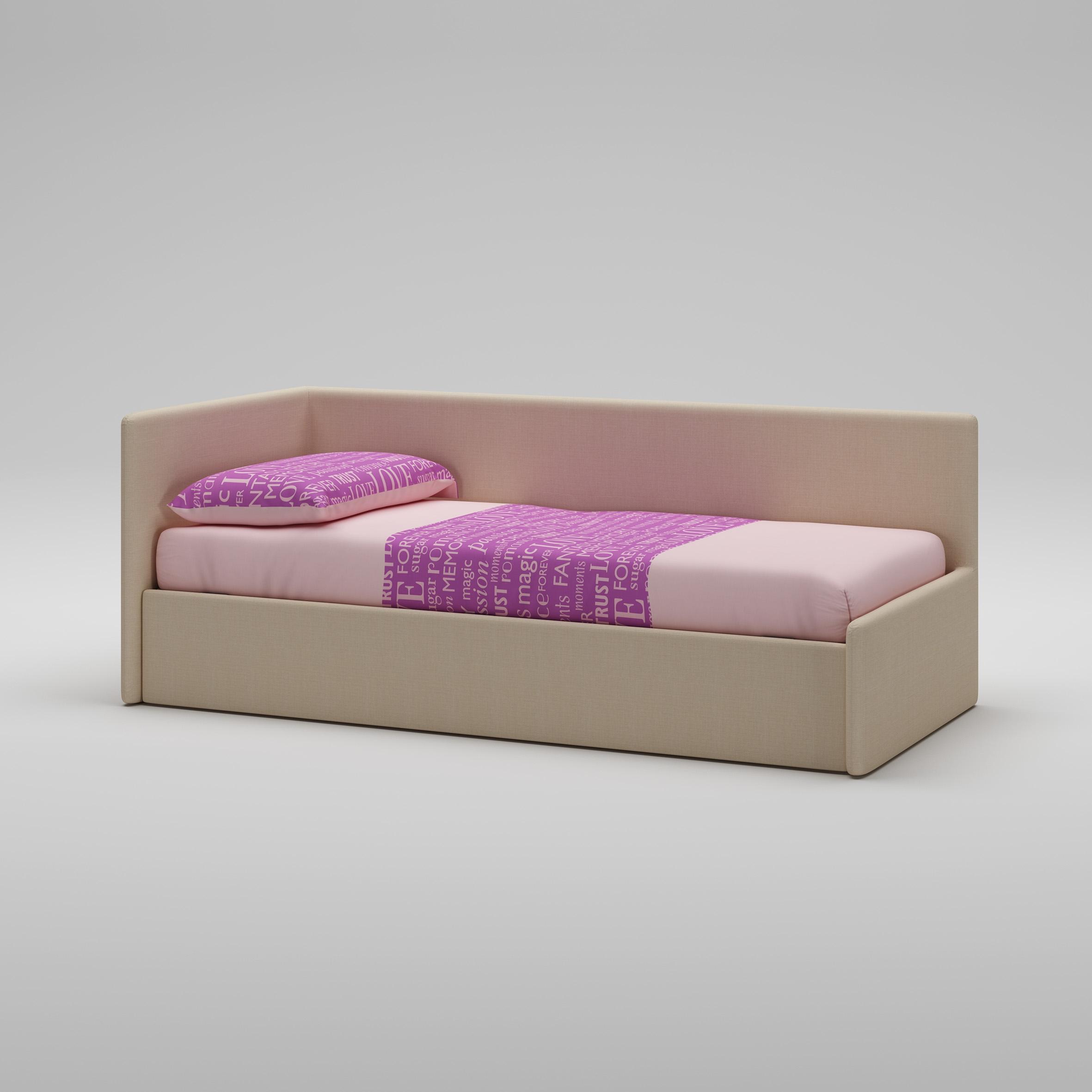 Lit Canapé PERSONNALISABLE WL071 en tissu couleur corde avec couchage de 90 x 200 - MORETTI COMPACT