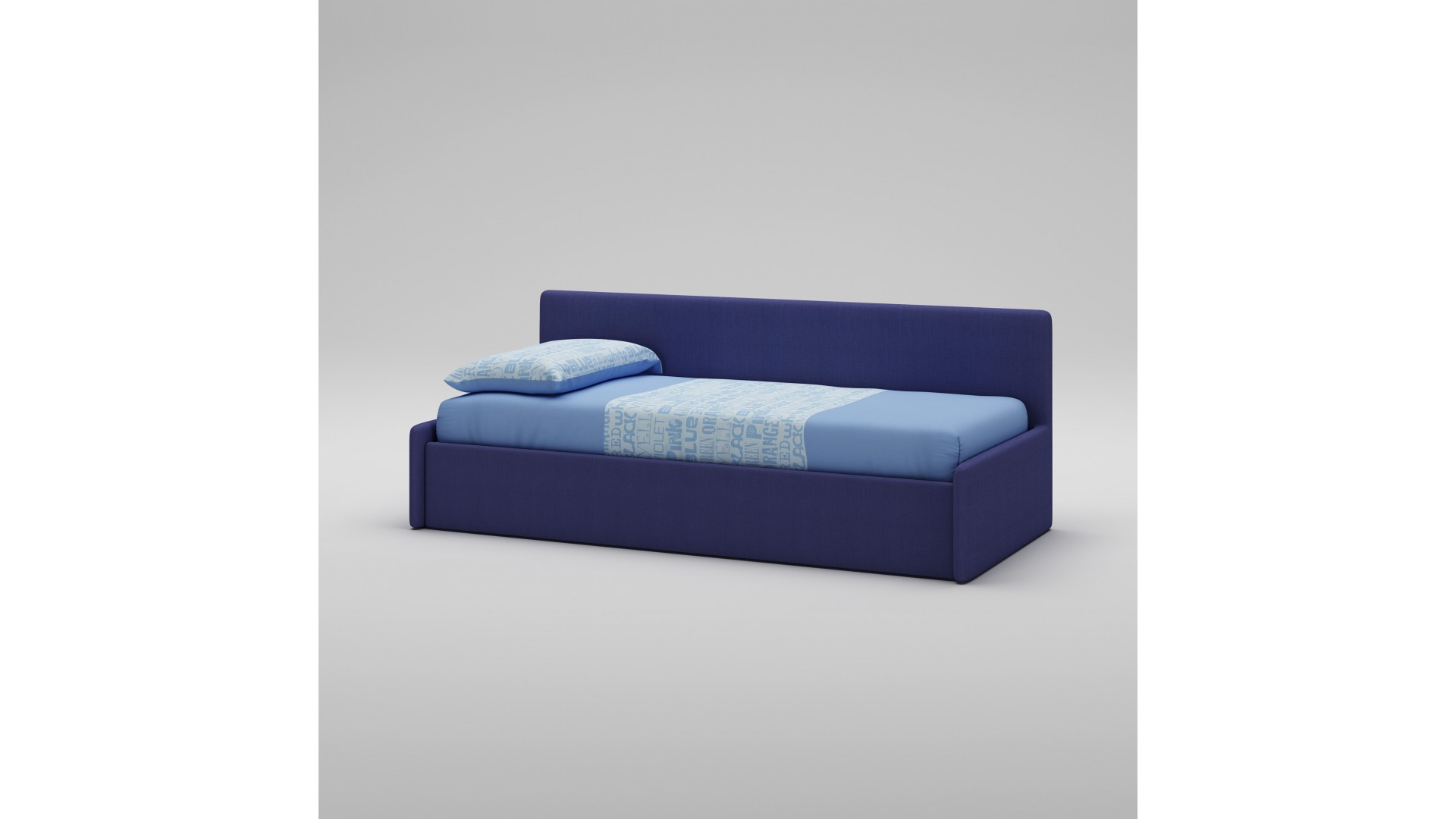 lit canap recouvert de tissu couleur bleu moretti compact so nuit. Black Bedroom Furniture Sets. Home Design Ideas