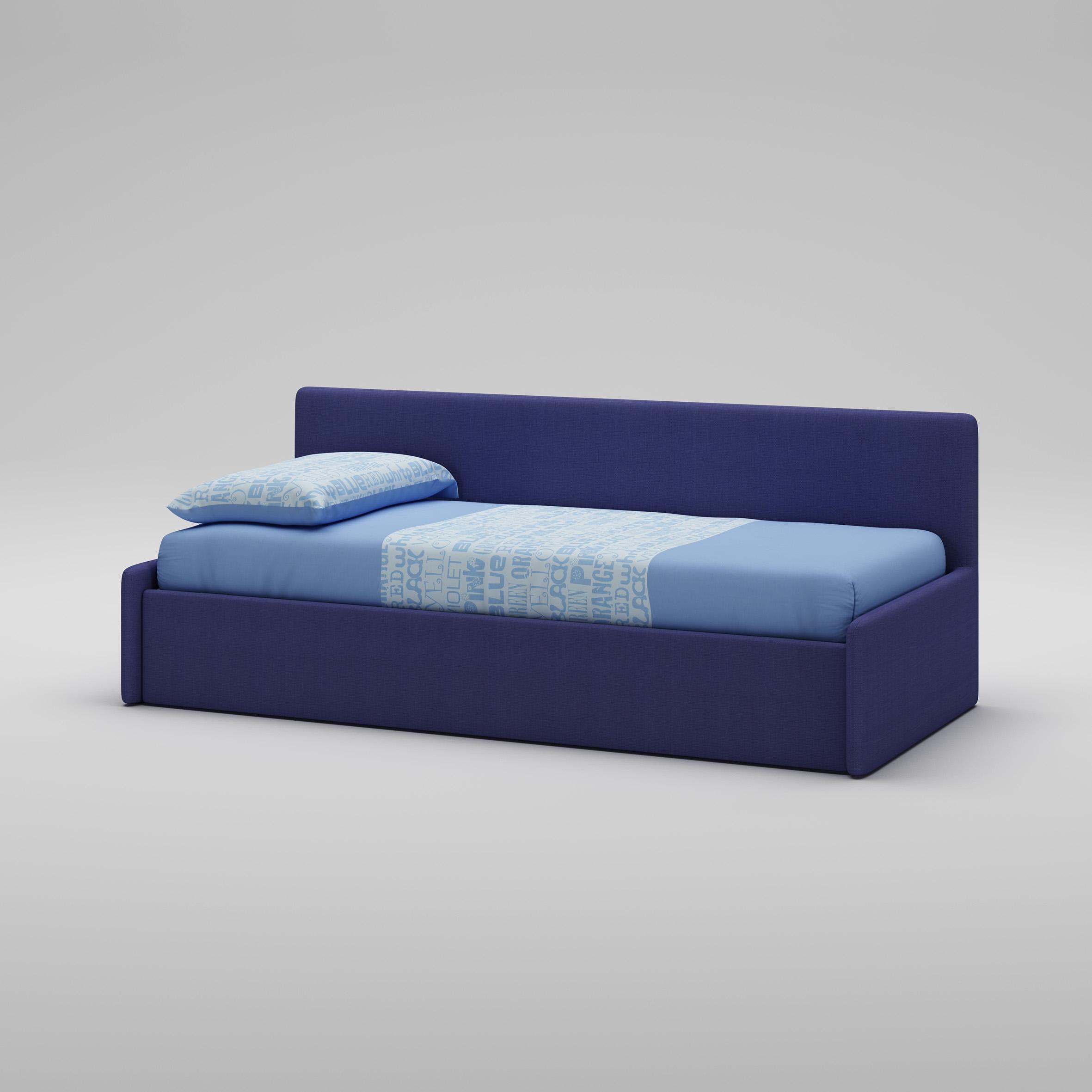 Lit canapé PERSONNALISABLE WL070 en tissu couleur bleu avec couchage de 90 x 200 - MORETTI COMPACT
