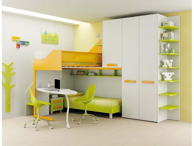 Chambre enfant PERSONNALISABLE LH36 lits superposés en mezzanine - MORETTI COMPACT
