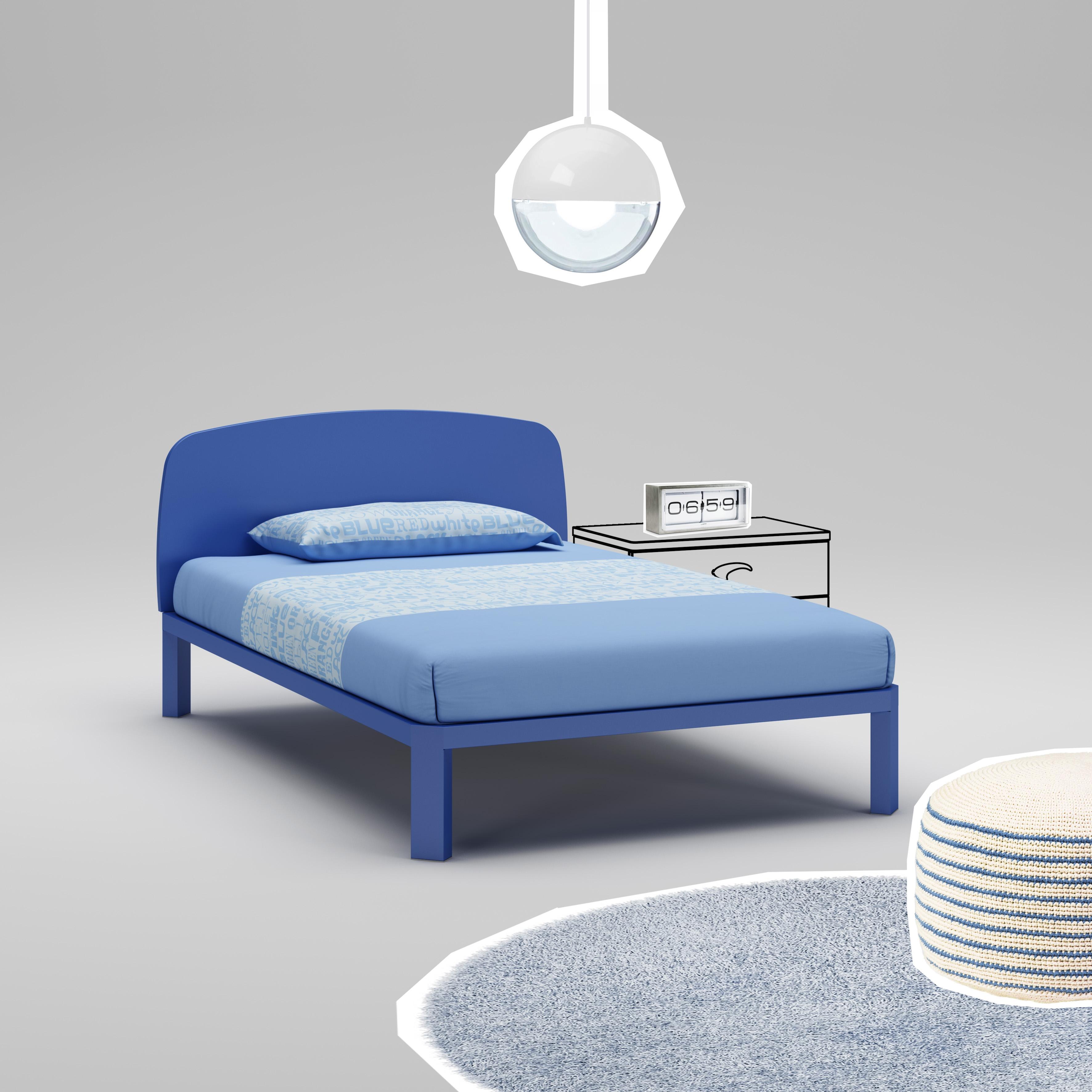 Lit ado PERSONNALISABLE WL082 avec couchage de 120 x 200 couleur bleu - MORETTI COMPACT
