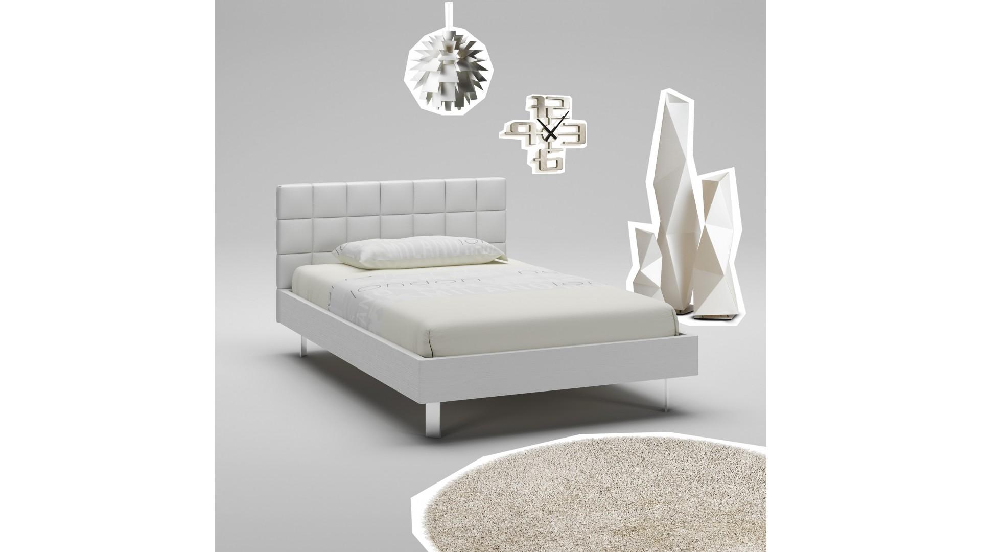 Lit Ado PERSONNALISABLE WL090 de 120 x 200 couleur blanc avec tête de lit rembourrée - MORETTI COMPACT