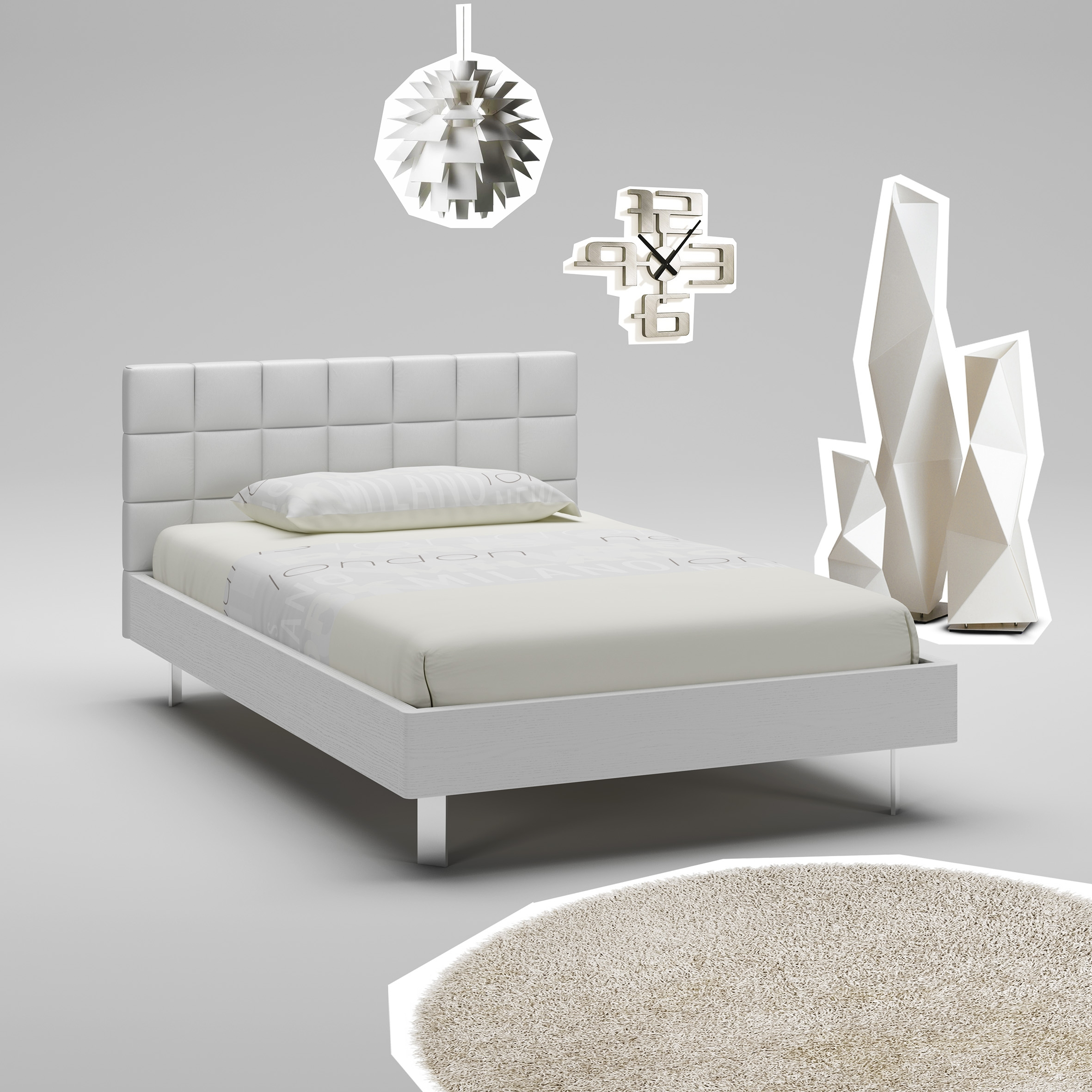 lit ado blanc avec t te de lit rembourr e moretti. Black Bedroom Furniture Sets. Home Design Ideas