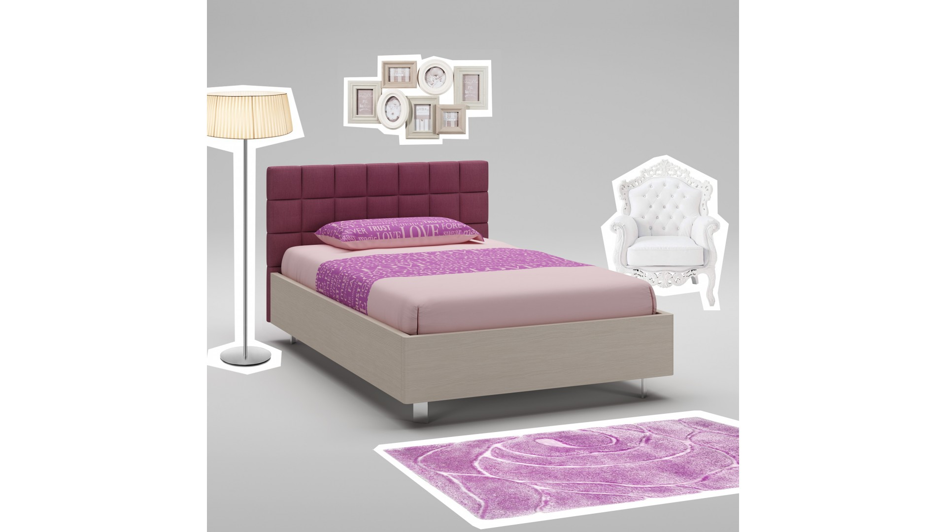 Lit ado PERSONNALISABLE WL093 de 120 x 200 avec tête de lit tissu couleur vin & cadre couleur mélèze - MORETTI COMPACT