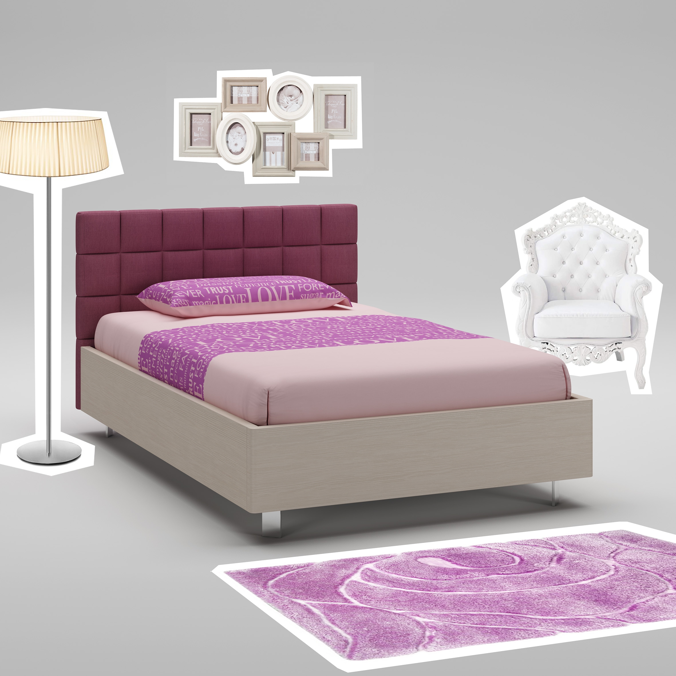 lit ado m l ze avec t te de lit rembourr e moretti. Black Bedroom Furniture Sets. Home Design Ideas