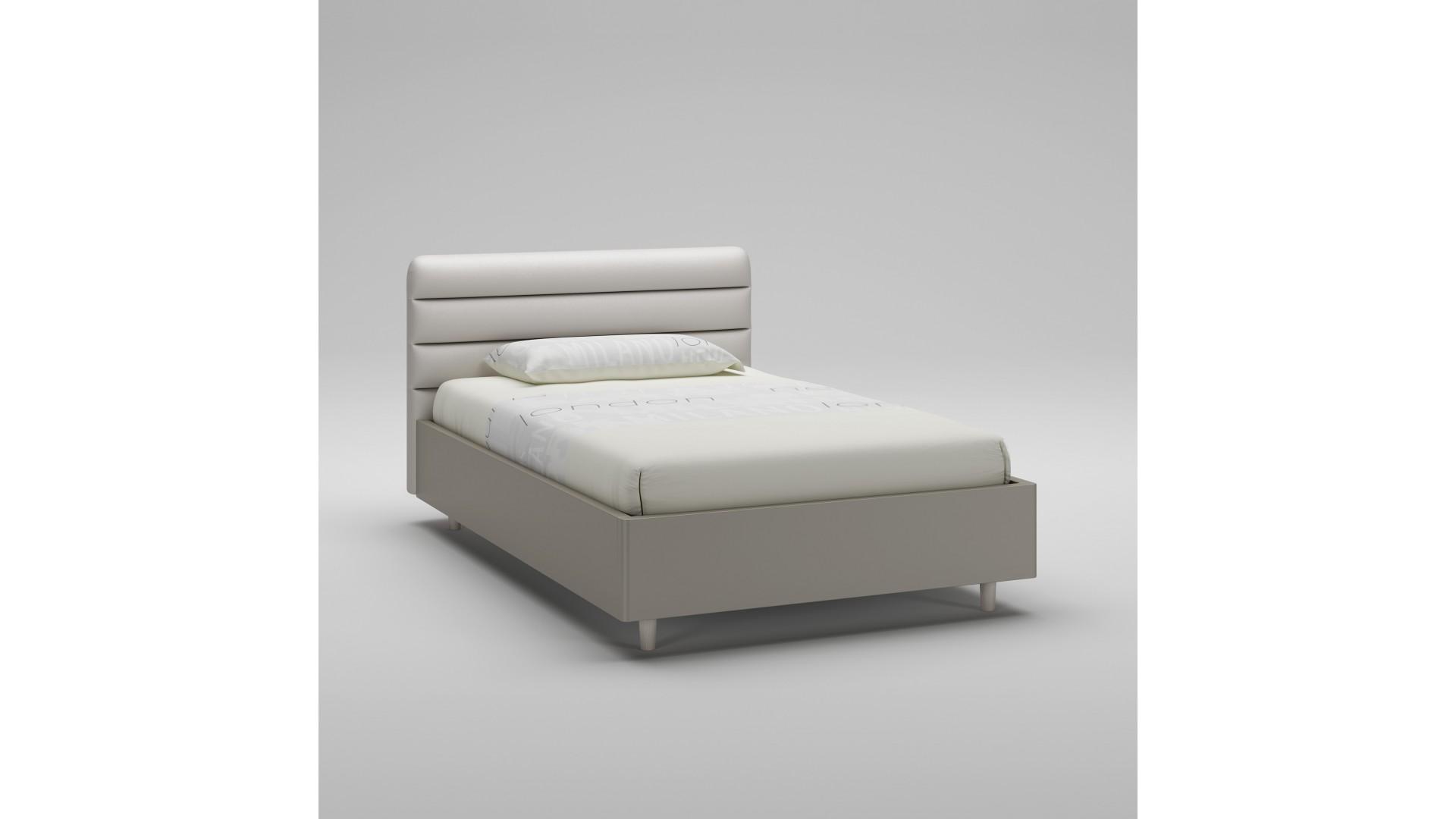 Lit coffre PERSONNALISABLE WL094 couleur tourterelle avec tête de lit rembourrée corde - MORETTI COMPACT