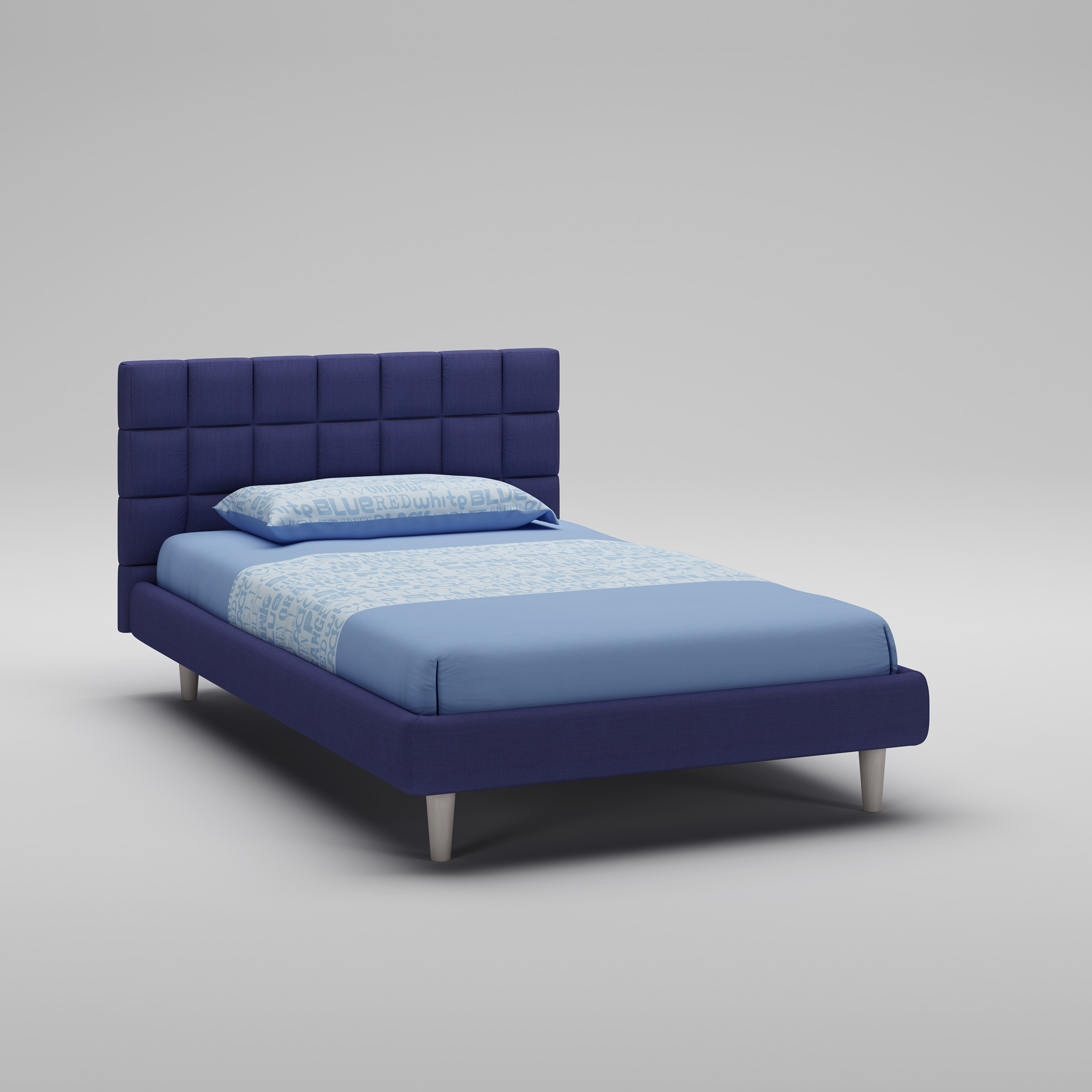lit ado recouvert de tissu couleur bleu moretti compact so nuit. Black Bedroom Furniture Sets. Home Design Ideas