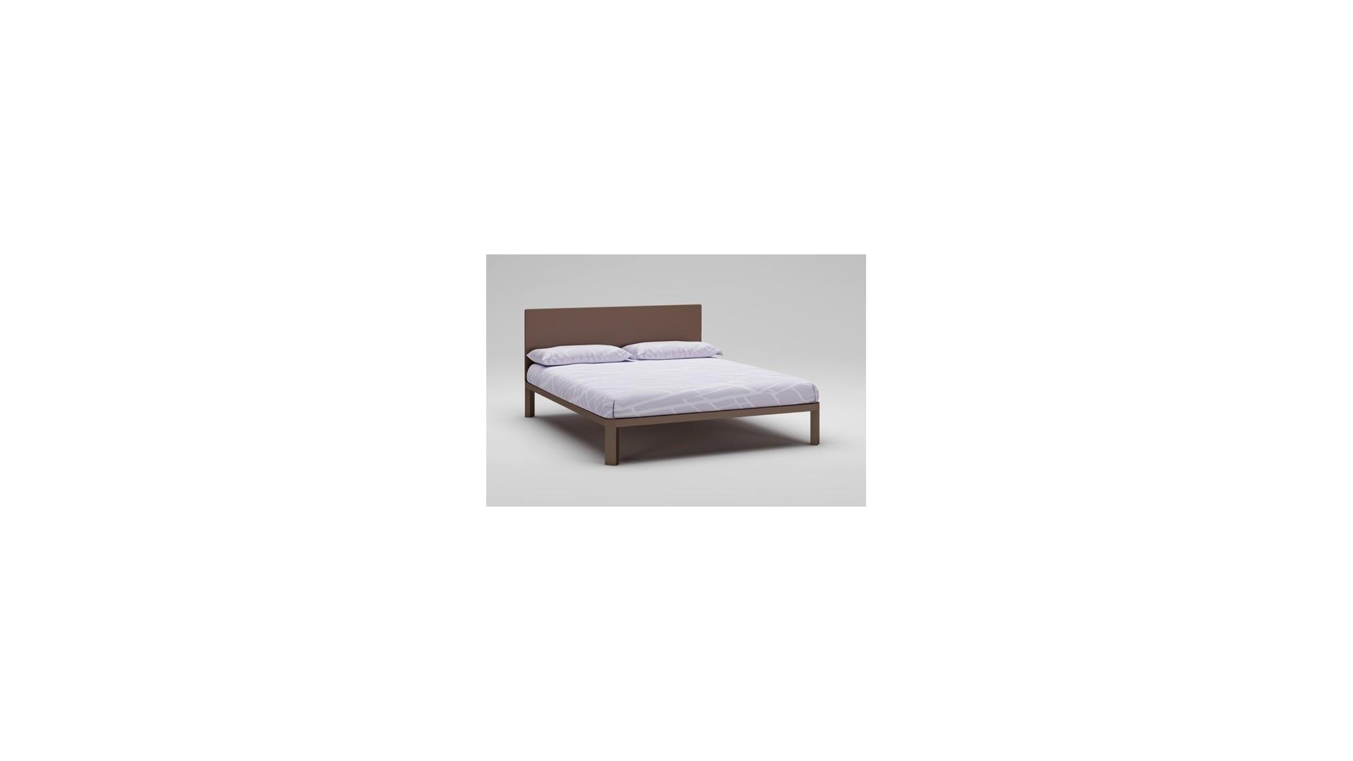 Lit double PERSONNALISABLE WL109 laqué mat couleur chocolat avec couchage de 160 x 200 - MORETTI COMPACT