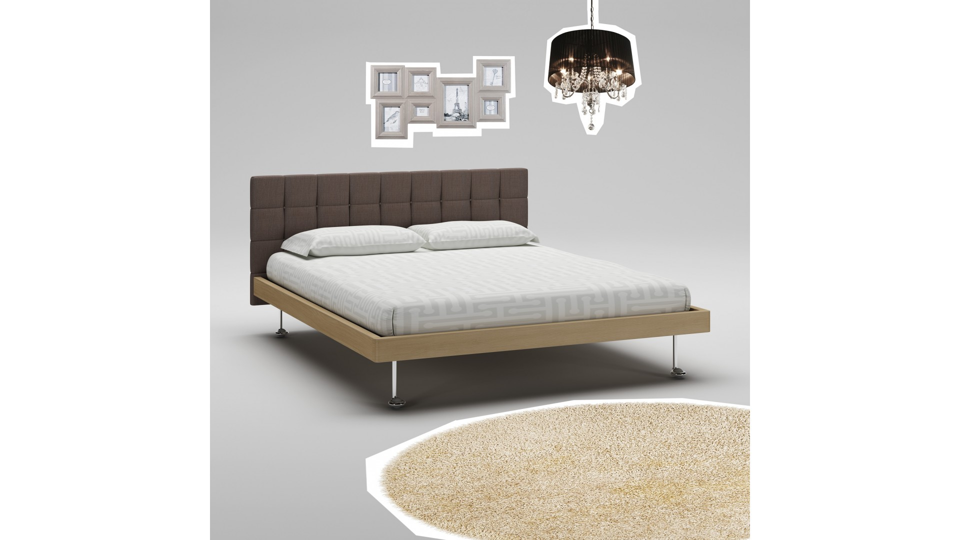 lit adulte avec t te de lit tissu marron moretti compact so nuit. Black Bedroom Furniture Sets. Home Design Ideas